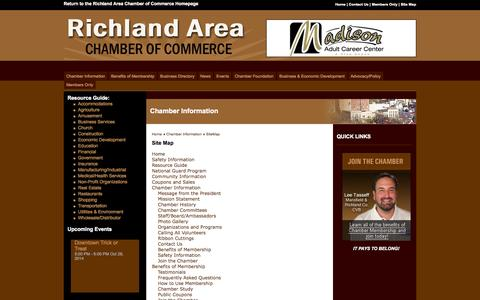 Screenshot of Site Map Page mrachamber.com - Mansfield-Richland Area Chamber of Commerce - Mansfield, OH - captured Oct. 26, 2014