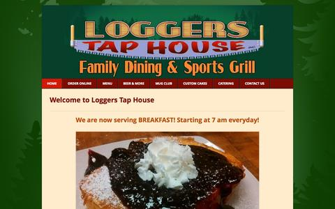 Screenshot of Home Page loggerstaphouse.com - Loggers Tap House - Home - captured Jan. 23, 2015