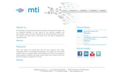 Screenshot of Home Page mtitelematics.com - Welcome - MTI Telematics - captured Feb. 3, 2016