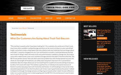 Screenshot of Testimonials Page truck-tool-box.com - Testimonials - Truck Tool Box - captured Feb. 16, 2016
