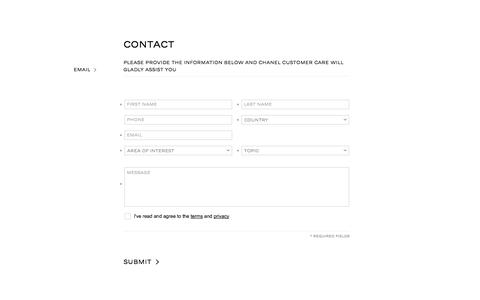 Screenshot of Contact Page chanel.com - CHANEL - CONTACT - captured Sept. 18, 2014