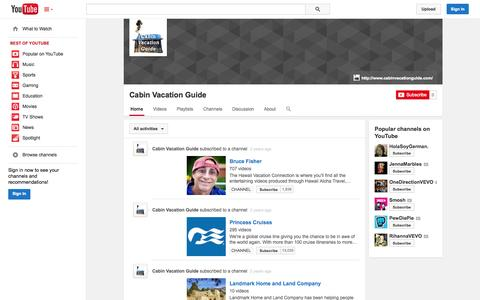 Screenshot of YouTube Page youtube.com - Cabin Vacation Guide  - YouTube - captured Oct. 22, 2014
