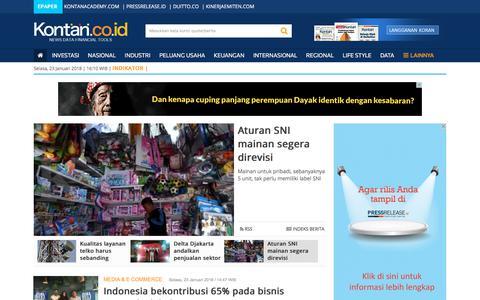 Screenshot of Press Page kontan.co.id - Berita Industri terbaru dan terbaik Indonesia - KONTAN - Media & E Commerce - captured Jan. 23, 2018