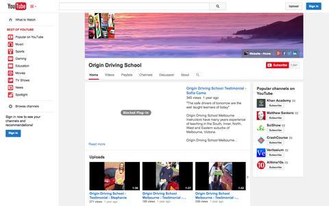 Screenshot of YouTube Page youtube.com - Origin Driving School  - YouTube - captured Nov. 5, 2014