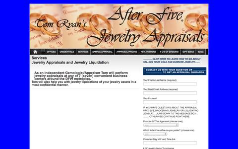 Screenshot of Services Page afterfivejewelryappraisals.com - Services | afterfivejewelryappraisals.com - captured Oct. 4, 2014