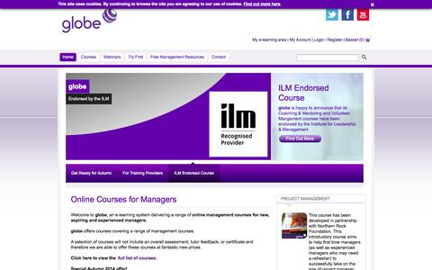 Screenshot of Home Page globelearning.org - globe | Online Courses for Managers - captured Oct. 3, 2014