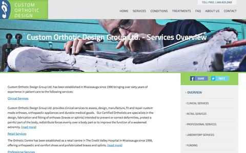 Screenshot of Services Page customorthotic.ca - Custom Orthotic Design Group - captured Feb. 1, 2016