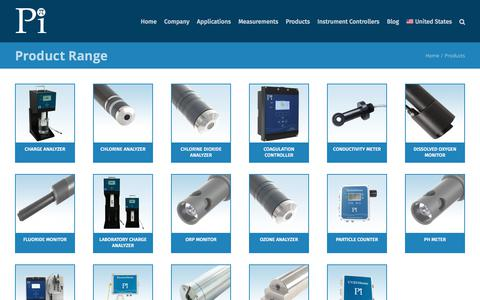 Screenshot of Products Page processinstruments.net - Products - Analyzers and Controllers for the Water Industries - captured Nov. 14, 2019