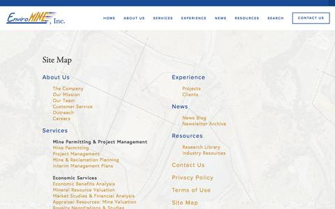 Screenshot of Site Map Page enviromineinc.com - Site Map — EnviroMINE, Inc. - captured July 14, 2016