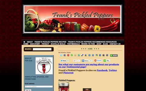 Screenshot of Home Page frankspickledpeppers.com - Frank's Pickled Peppers - captured Sept. 30, 2014