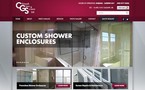 Screenshot of Home Page chinookglass.com - Chinook Glass Screen Ltd. Chinook Glass & Screen - captured July 20, 2015