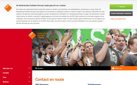 Screenshot of Contact Page npo.nl - Contact en route - NPO - captured Aug. 17, 2016