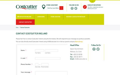 Screenshot of Contact Page costcutter.ie - Contact Costcutter - Costcutter - captured Sept. 29, 2018