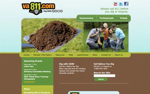 Screenshot of Home Page va811.com - Miss Utility of Virginia | Always call 811 before you dig in Virginia. - captured Sept. 4, 2015