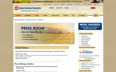 Screenshot of Press Page southernstates.com - Press Room & Media Coverage - Southern States Cooperative News - Southern States Cooperative - captured Sept. 24, 2014