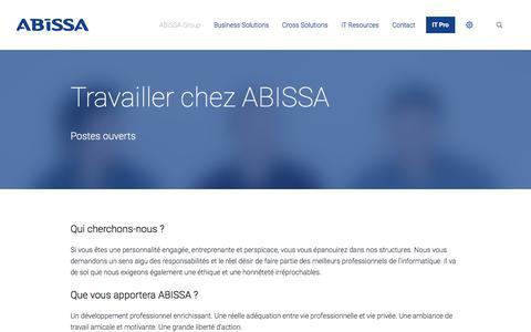Screenshot of Jobs Page abissa.ch - Jobs | ABISSA - captured Oct. 6, 2017