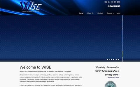 Screenshot of Home Page wiseisi.com - Wise : Coiled Tubing – Stimulation – DownHole - captured Sept. 17, 2014