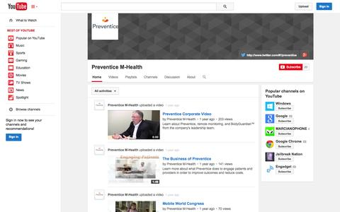 Screenshot of YouTube Page youtube.com - Preventice M-Health  - YouTube - captured Oct. 22, 2014
