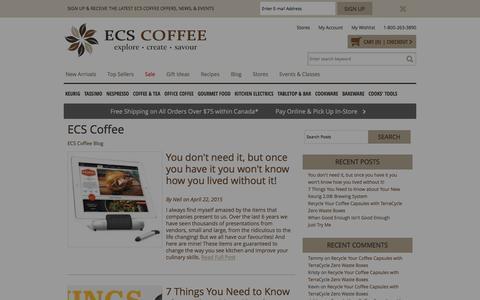 Screenshot of Blog ecscoffee.com - ECS Coffee  - Canada's Single Serve Coffee, Keurig® K-Cup®, Tassimo®, Nespresso®, & Kitchen Store - captured Jan. 14, 2016