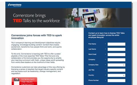 Screenshot of Landing Page cornerstoneondemand.com - Cornerstone brings TED Talks to the Workforce - captured Oct. 29, 2016