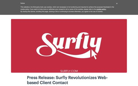 Screenshot of Press Page surfly.com - Press Release: Surfly Revolutionizes Web-based Client Contact - Surfly - captured Jan. 3, 2020