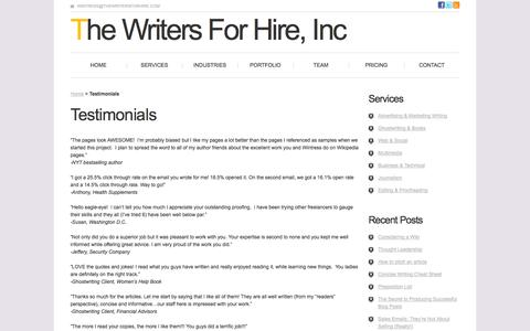 Screenshot of Testimonials Page thewritersforhire.com - Testimonials - The Writers For Hire - captured Sept. 23, 2014