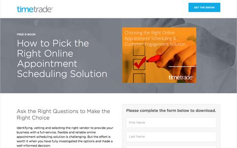 Screenshot of Landing Page timetrade.com - eBook Choosing the Right Online Appointment Scheduling & Customer Engagement Solution - captured Feb. 26, 2017