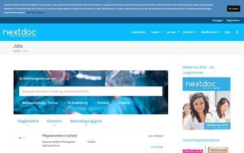 Screenshot of Jobs Page nextdoc.at - Arzt Jobs & Ausbildungsangebote für Assistenz- und Fachärzte - nextdoc - captured Oct. 30, 2018