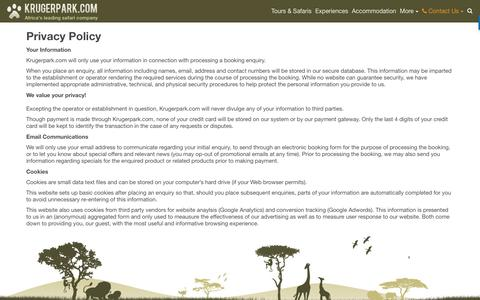 Screenshot of Privacy Page krugerpark.com - Privacy Policy - captured May 2, 2017