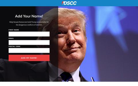 Screenshot of Landing Page dscc.org - |  Stand Against Trump - captured Feb. 28, 2017