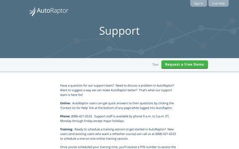 Screenshot of Support Page autoraptor.com - AutoRaptor – Automotive Lead Management ILM and CRM  » Support - captured Sept. 25, 2014