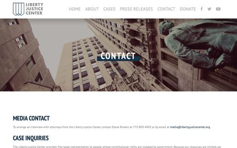 Screenshot of Contact Page libertyjusticecenter.org - Liberty Justice Center - captured Nov. 4, 2018