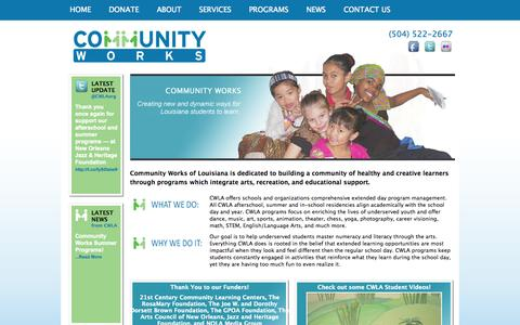 Screenshot of Home Page communityworksla.org - Community Works of Louisiana - After school and summer extended learning programs - captured Oct. 2, 2014