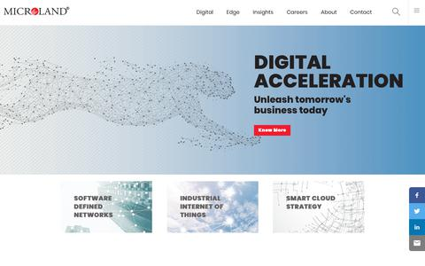 Screenshot of Home Page microland.com - Digital Business Technology Solutions & Services | Microland - captured July 12, 2018