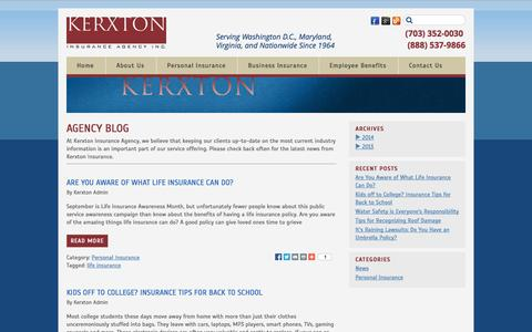 Screenshot of Blog kerxton.com - Agency Blog | Kerxton Insurance - captured Oct. 1, 2014