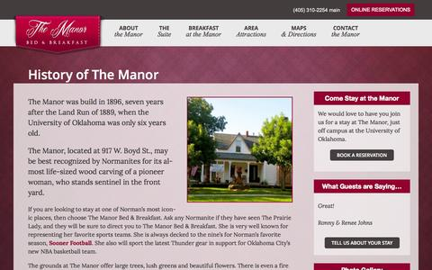 Screenshot of About Page pcnorman.com - The Manor B&B - captured Oct. 2, 2014