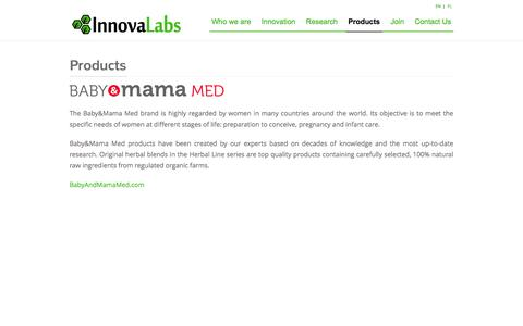 Screenshot of Products Page innova-labs.com - Innova Labs   –  Products - captured Sept. 30, 2014