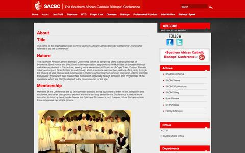 Screenshot of About Page sacbc.org.za - About – The Southern African Catholic Bishops' Conference - captured June 4, 2016