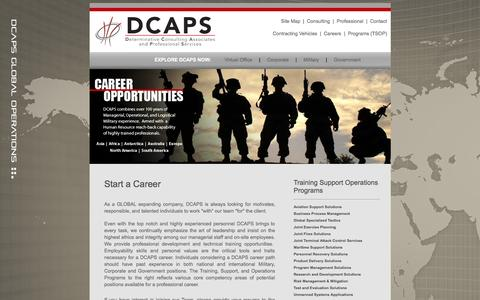 Screenshot of Jobs Page dcapsinc.com - Start a Career with DCAPS - captured Sept. 30, 2014
