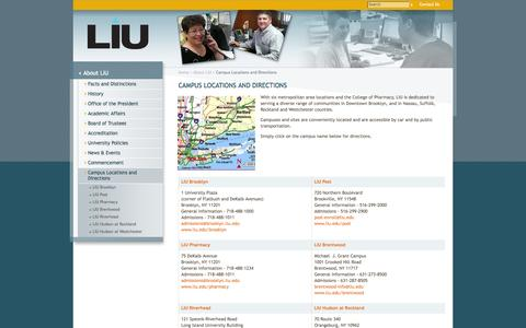 Screenshot of Contact Page Maps & Directions Page liu.edu - Campus Locations and Directions - Long Island University - captured Oct. 22, 2014