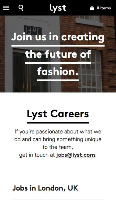 Screenshot of Jobs Page  lyst.com - Working at Lyst