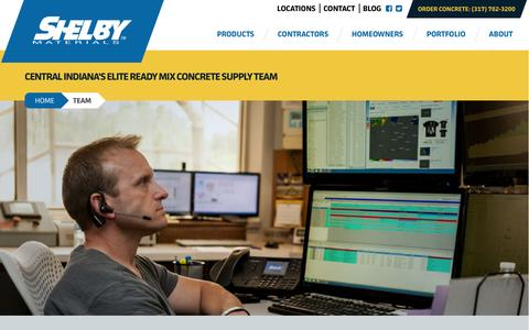 Screenshot of Team Page shelbymaterials.com - Central Indiana Concrete Supply Team | Shelby Materials - captured Jan. 13, 2016