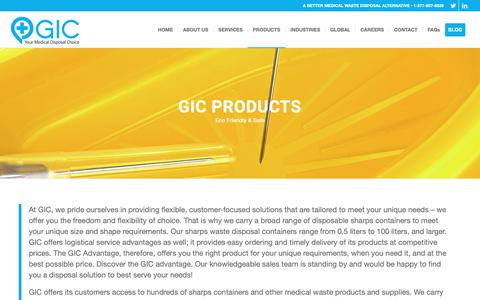 Screenshot of Products Page gicmd.com - Products - GIC Medical Disposal | Fully Compliant Services - captured Sept. 26, 2018