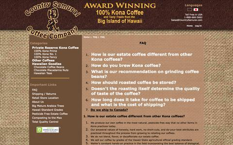 Screenshot of FAQ Page countrysamurai.com - FAQ : Country Samurai, 100% Kona Coffee - captured Oct. 22, 2018