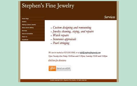 Screenshot of Services Page stephensfinejewelry.com - Stephen's Fine Jewelry Services - captured Oct. 7, 2014