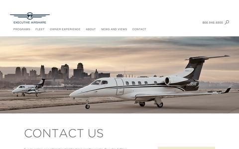 Screenshot of Contact Page execairshare.com - Executive AirShare - captured Nov. 14, 2016