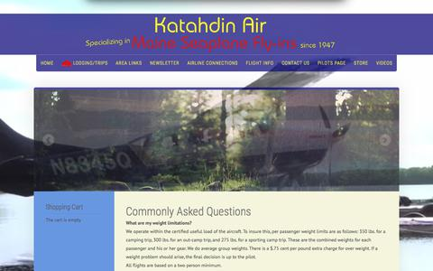Screenshot of FAQ Page katahdinair.com - Flight Information For Katahdin Air Service, Millinocket, Maine - captured July 3, 2018