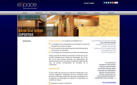 Screenshot of Services Page espaceconstruction.com - eSpace Construction – Services - captured Oct. 2, 2014