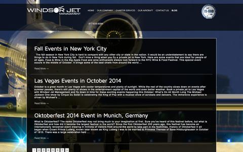 Screenshot of Blog windsorjet.com - Private Jet Charter Blog | Windsor Jet Management - captured Oct. 7, 2014