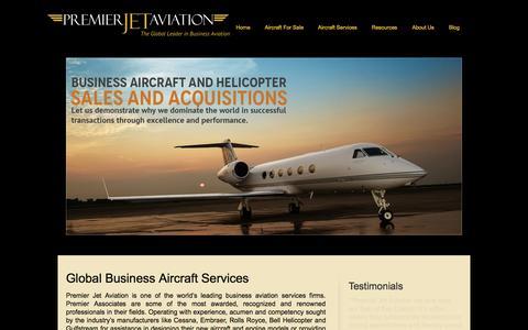 Screenshot of Home Page jetav.com - Premier Jet Aviation | jetav | The Global Leader in Business Aviation - captured Sept. 23, 2014
